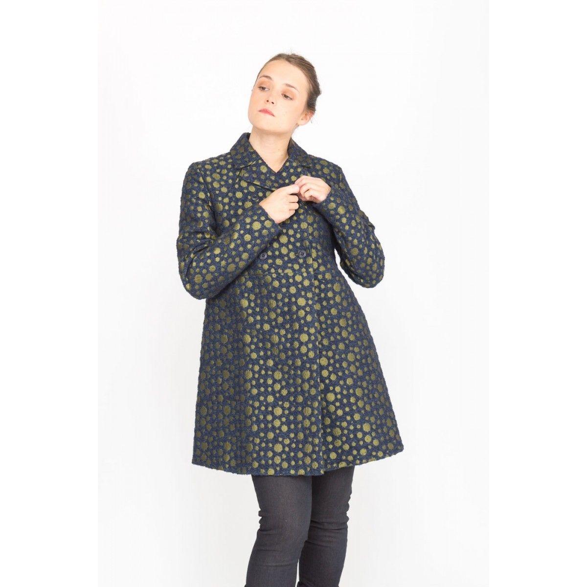 Manteau croisé bicolore HURI