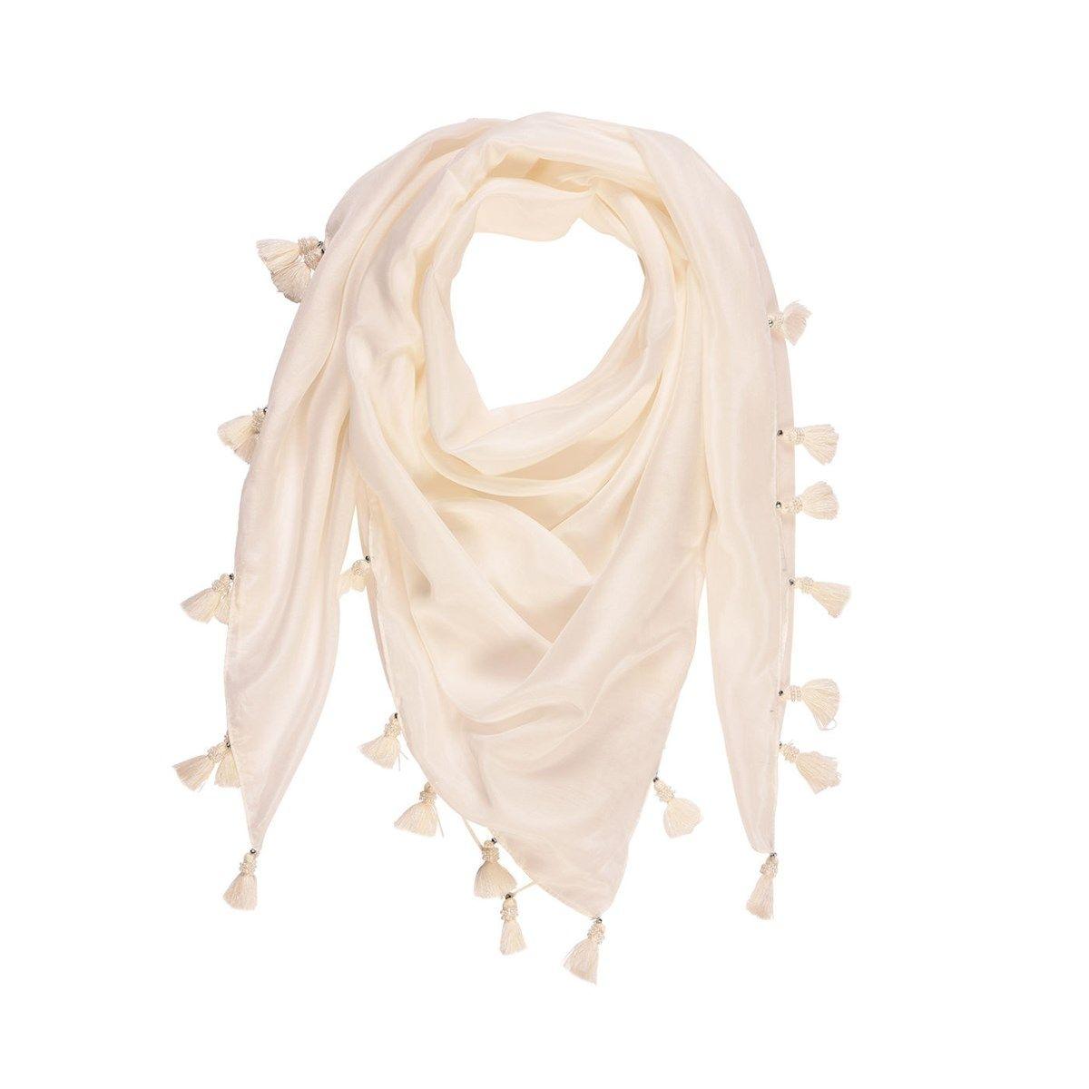 Foulard pompons en coton et soie