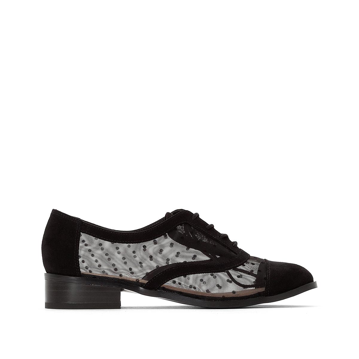 цена Ботинки-дерби La Redoute Из двух материалов на шнуровке на плоской подошве 36 черный онлайн в 2017 году