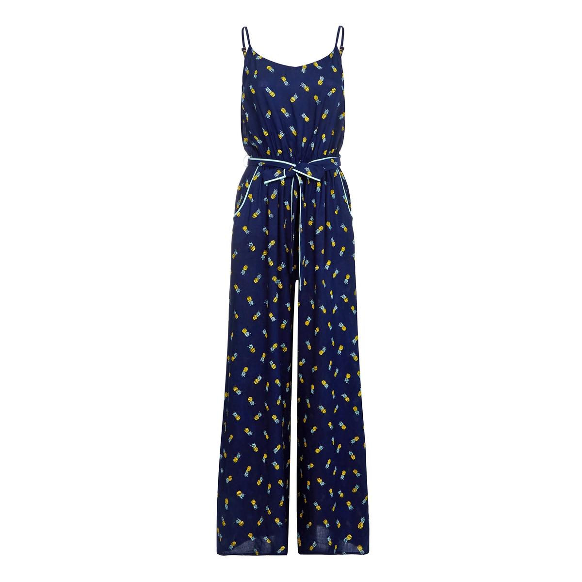 Комбинезон с брюками, широкий, с рисункомДетали  •  Свободный, широкий покрой •  Рисунок-принт Состав и уход  •  100% вискоза •  Следуйте рекомендациям по уходу, указанным на этикетке изделия<br><br>Цвет: темно-синий<br>Размер: 44 (FR) - 50 (RUS)