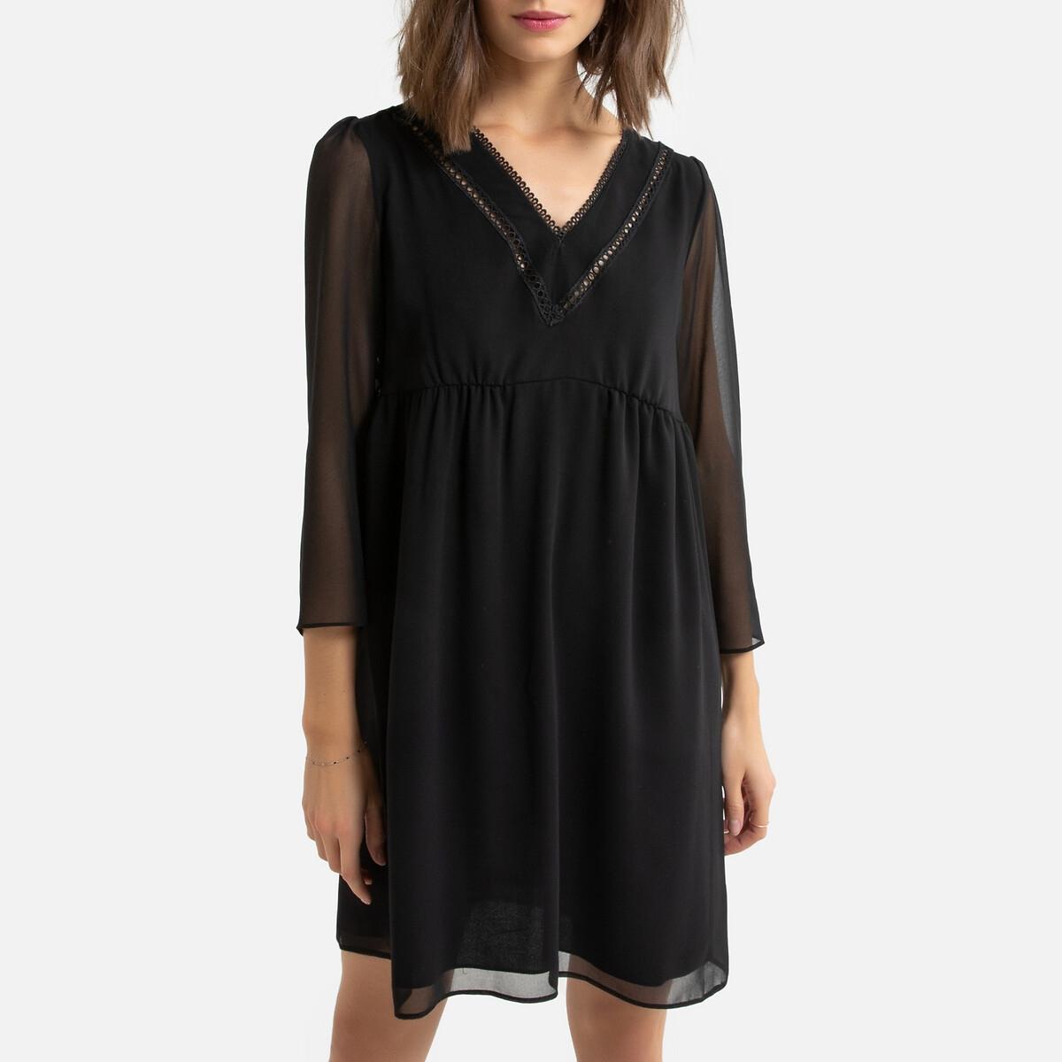 Платье LaRedoute Из вуали эластичный пояс V-образный вырез 42 (FR) - 48 (RUS) черный
