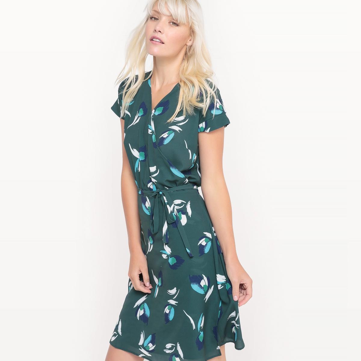 Платье с принтом, с запахом и короткими рукавами