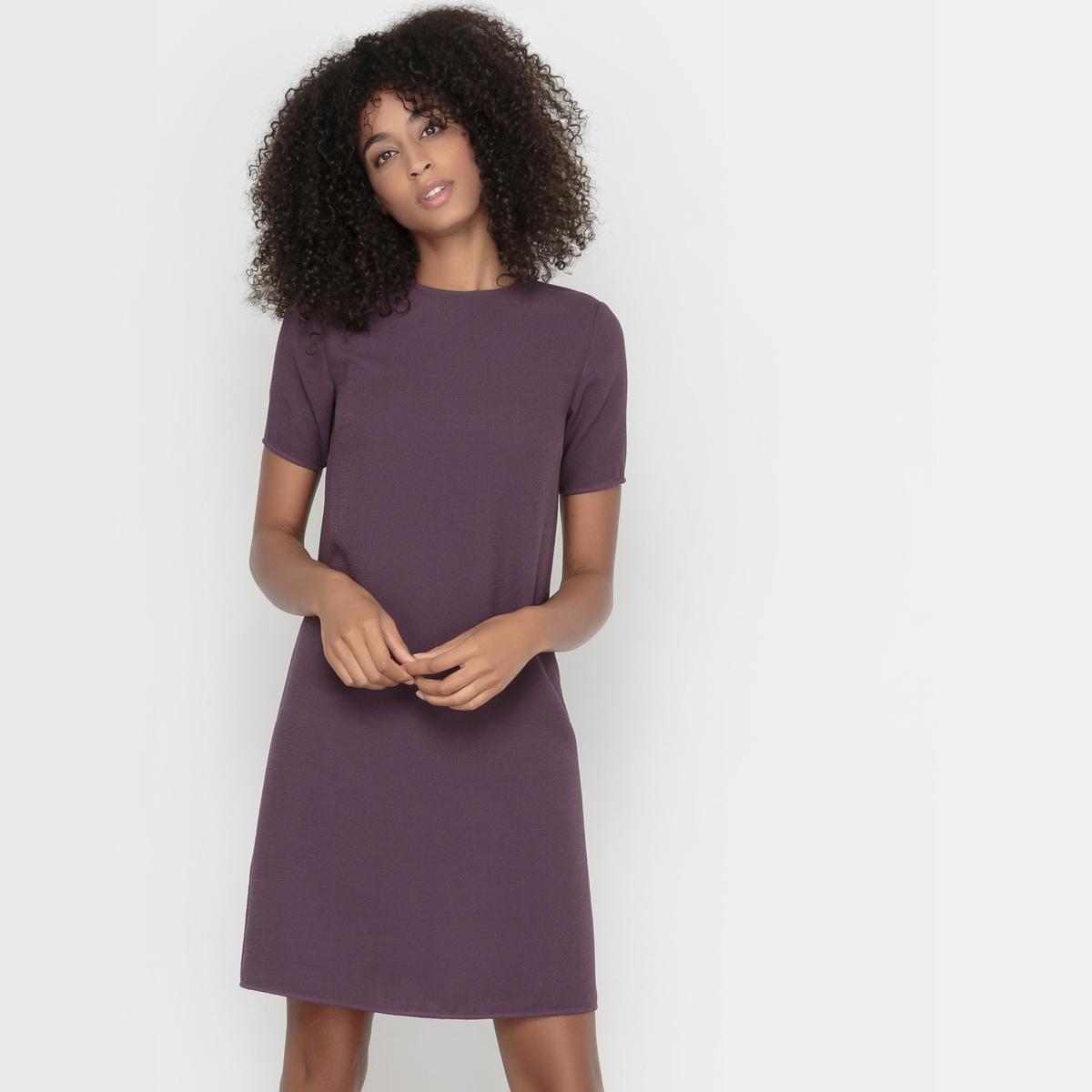 Платье с короткими рукавамиПлатье с короткими рукавами .Изящный прямой покрой, комфортный при носке . Небольшой круглый вырез . Застежка на молнию сзади. . 100% полиэстера с рельефным эффектом . Подкладка 100% полиэстера только для цвета слоновой кости  . Длина 92 см .<br><br>Цвет: фиолетовый<br>Размер: 42 (FR) - 48 (RUS)