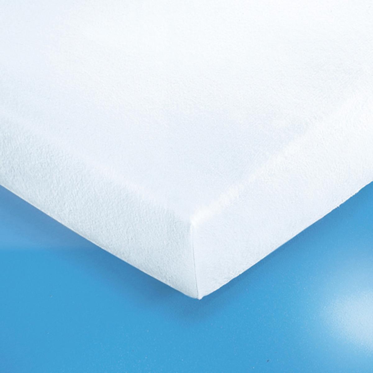 Чехол защитный для матраса натяжной из эластичной махровой тканиПрочный и нежный на ощупь защитный чехол из мягкой махровой ткани с завитым ворсом80% хлопка, 20% полиэстера, 170г/м?. Эластичный чехол легко надевается на матрас (высота 10-18 см).4 уголка (высота 21 см).Стирка при температуре до 60°.<br><br>Цвет: белый<br>Размер: 90 x 190 см