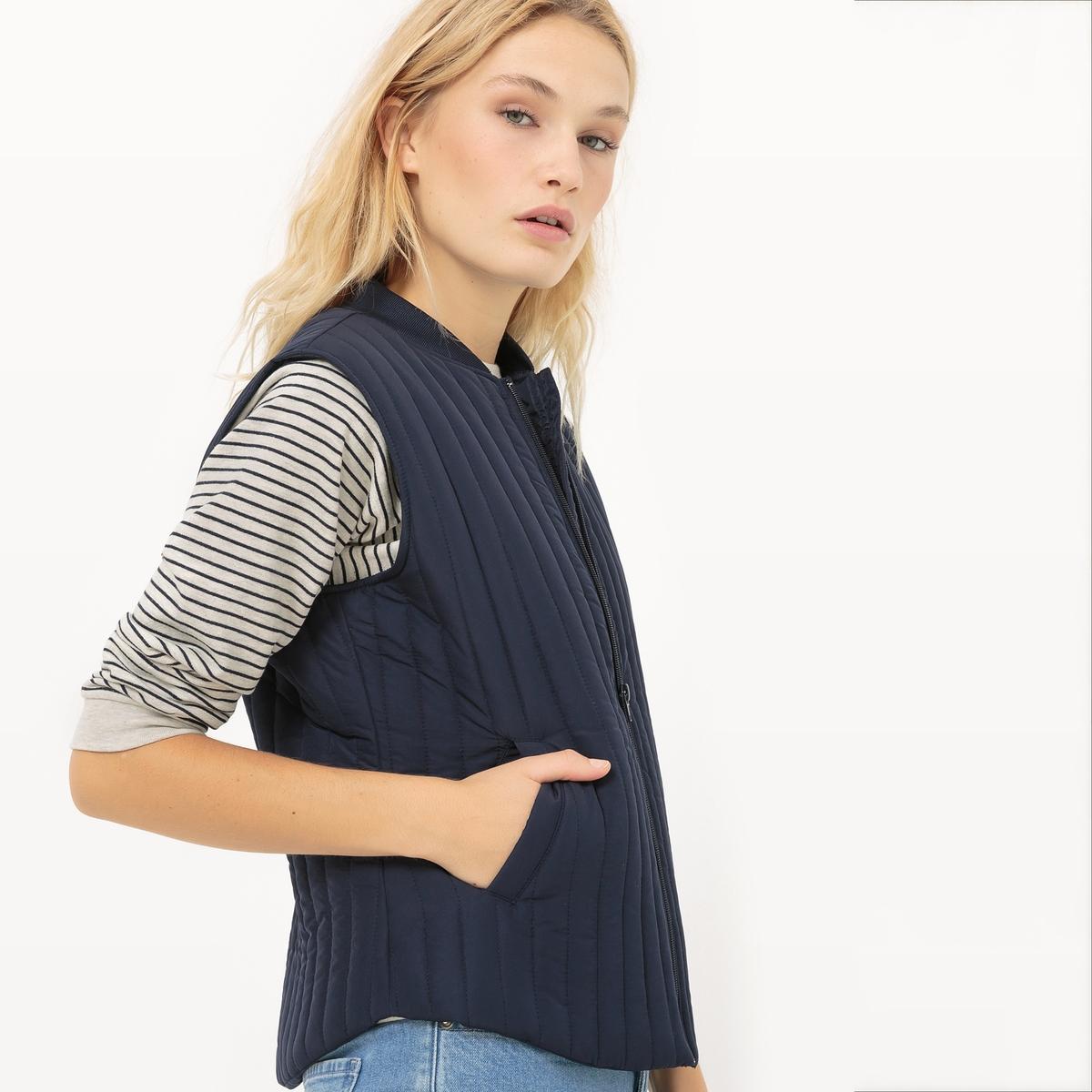 Куртка стеганая тонкая, на молнии, без рукавовМатериал : 100% полиэстер      Покрой : приталенный   Форма воротника : Высокий воротник      Тип куртки  : застежка на молнию.      Длина куртки : Стандартная      Рисунок : Однотонная модель<br><br>Цвет: темно-синий<br>Размер: 38 (FR) - 44 (RUS)