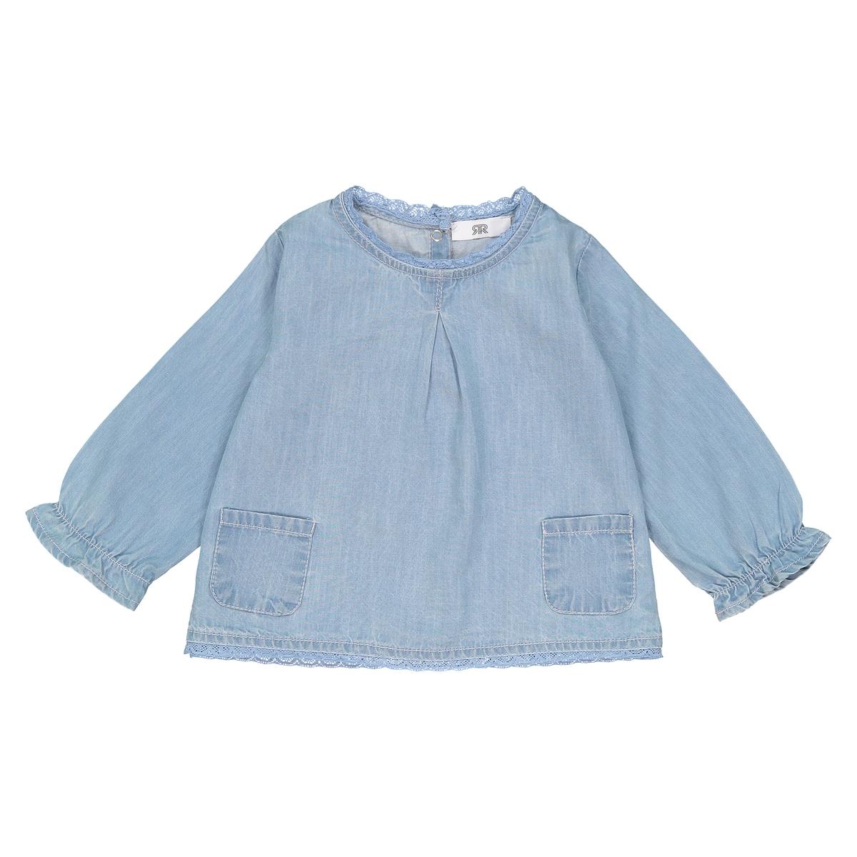 Блузка La Redoute С длинными рукавами из джинсовой ткани мес - года 3 года - 94 см синий футболки la redoute с длинными рукавами мес года 2 года 86 см разноцветный