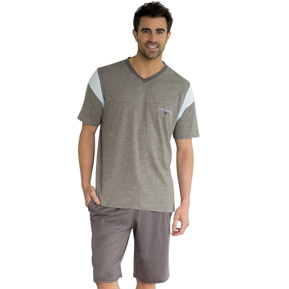 Пижама с шортами, короткие рукаваОписание:Пижама с шортами для мужчин с красивыми контрастными вставками от Athena. Стильная мужская пижама для моментов расслабления. Состав и описание :Пижама с шортами. Футболка с рисунком, короткими рукавами и V-образным вырезом. Шорты с эластичным поясомМатериал : 97 % хлопка, 3% полиэстера. Джерси. Марка: ATHENA.Уход :Стирать при 40° с вещами схожих цветов.Стирка и глажка с изнаночной стороны.Машинная сушка запрещена.<br><br>Цвет: серый<br>Размер: L.M