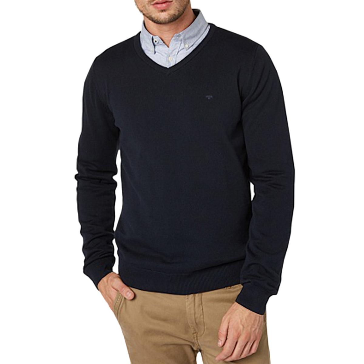 Пуловер с V-образным вырезом из тонкого хлопкового трикотажа