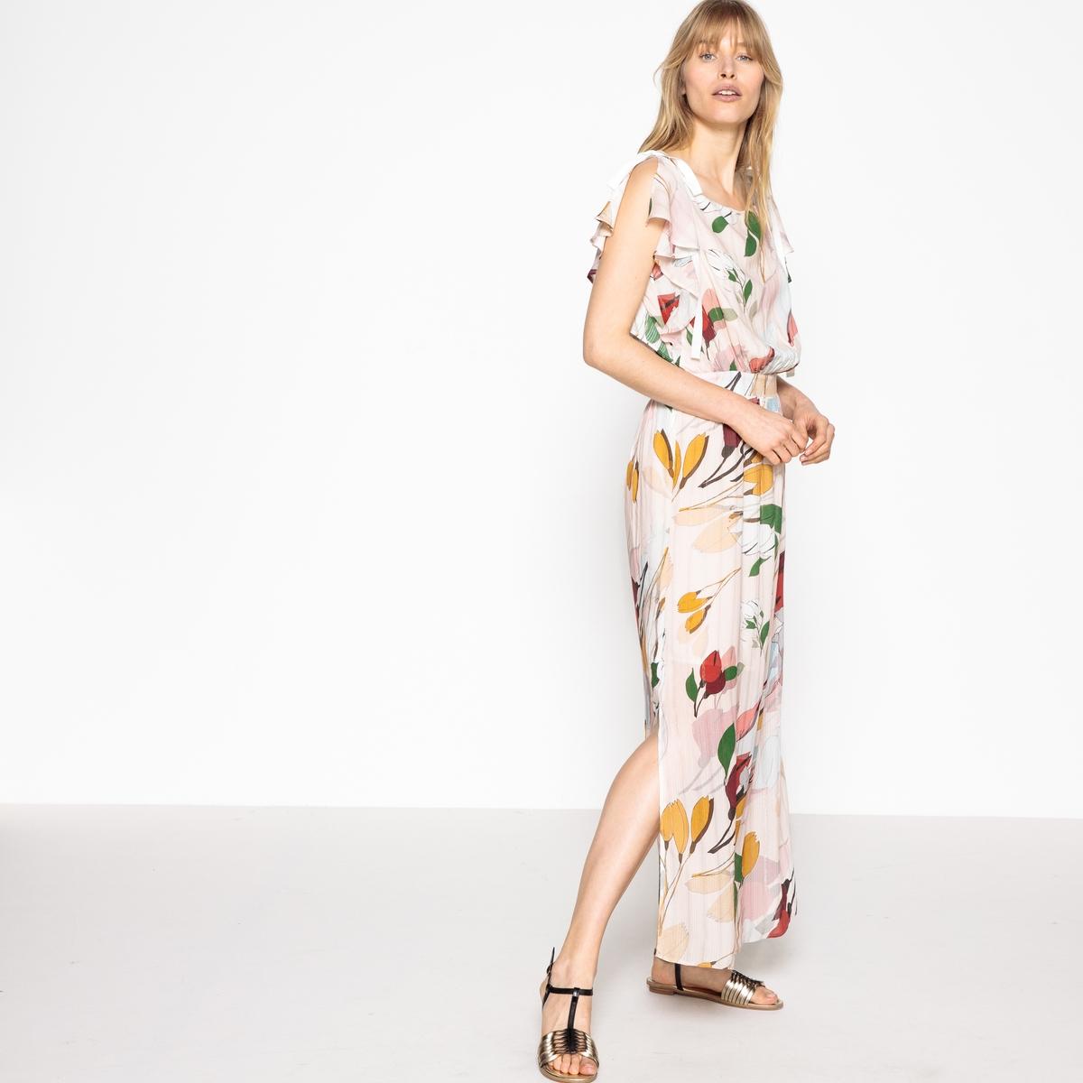Платье прямое и длинное с цветочным принтом