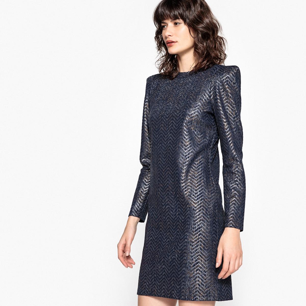 Платье La Redoute С блестящим эффектом и длинными рукавами M синий платье рубашка la redoute джинсовое с поясом m синий