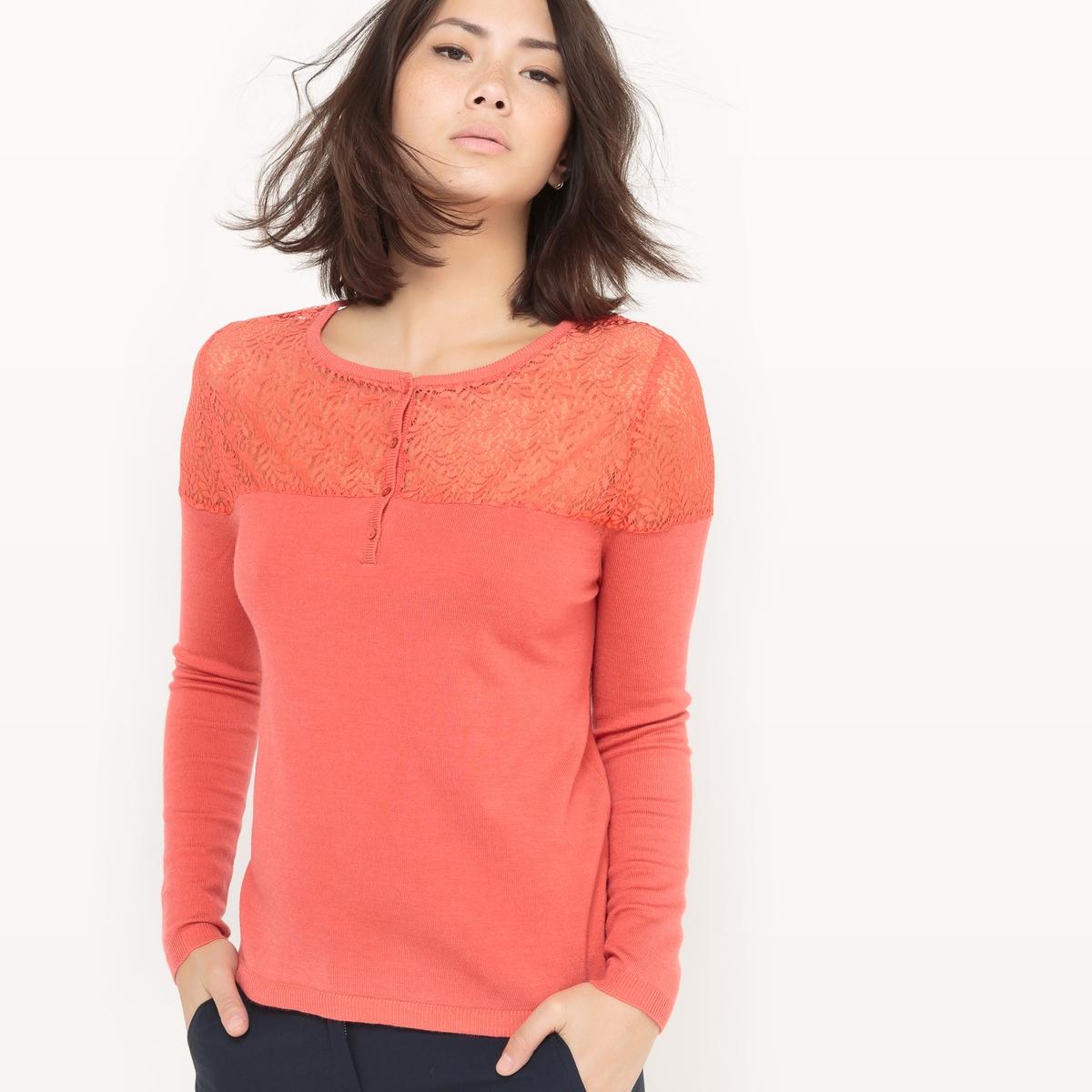Пуловер с круглым вырезом и вставкой из кружева блузка с квадратным вырезом со вставкой из кружева