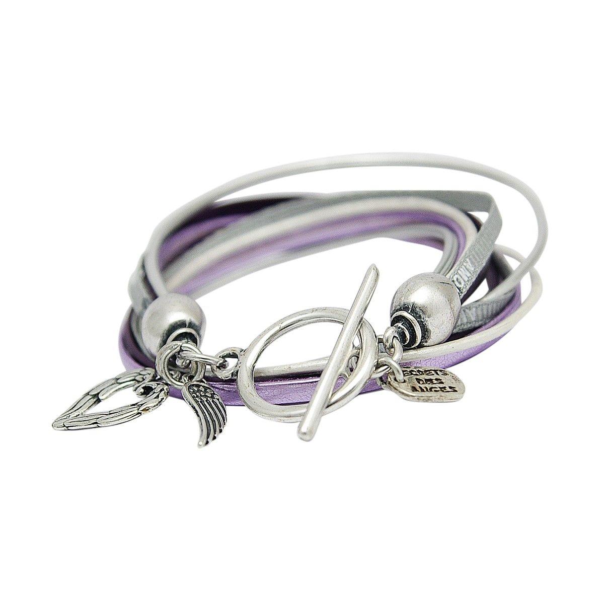 Bracelet en cuir violet LAUREN