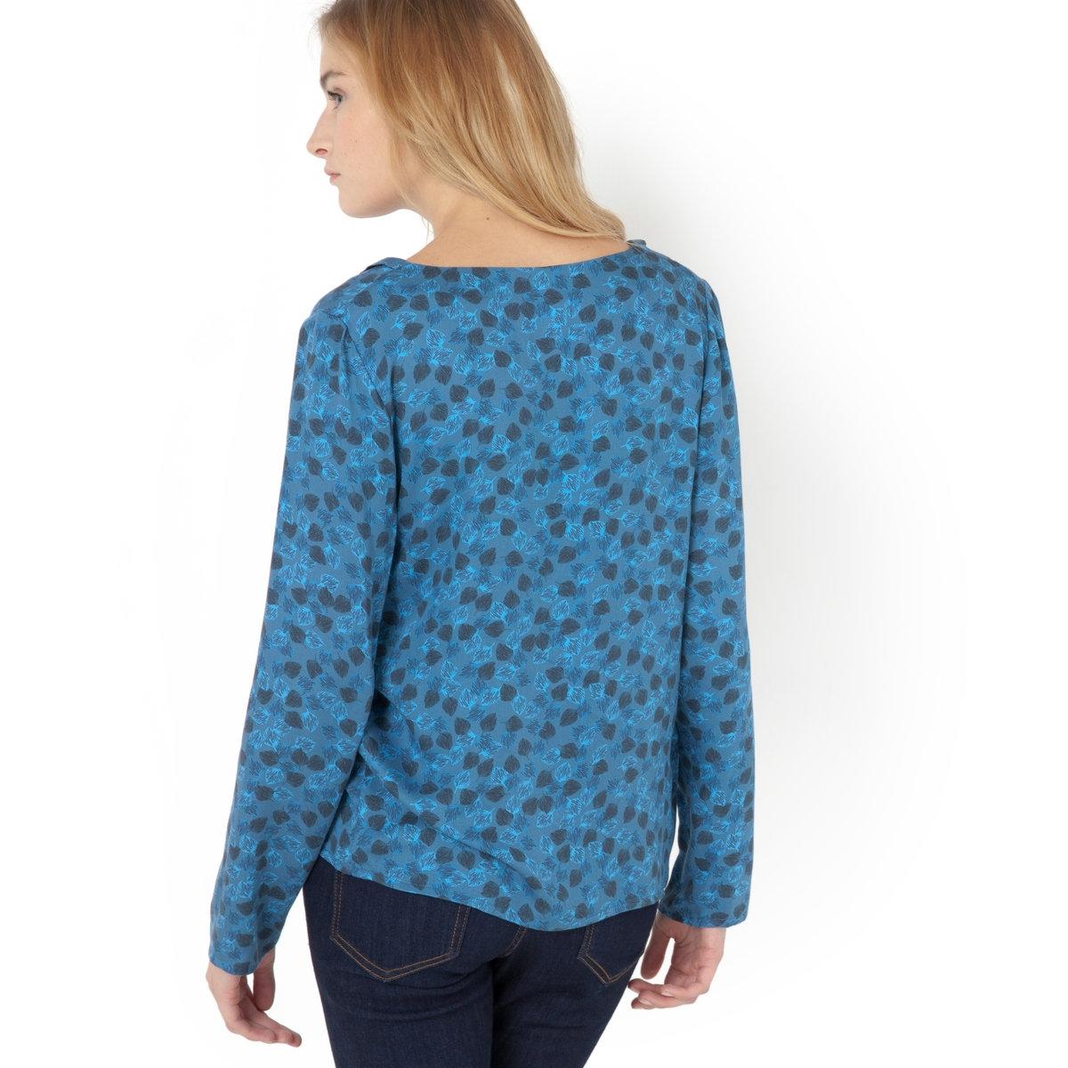 Блузка с рисунком с длинными рукавамиБлузка, V-образный вырез с завязкой. Цветочный рисунок. Длинные рукава. 100% вискозы. Длина 63 см.<br><br>Цвет: рисунок листьев<br>Размер: 36 (FR) - 42 (RUS)