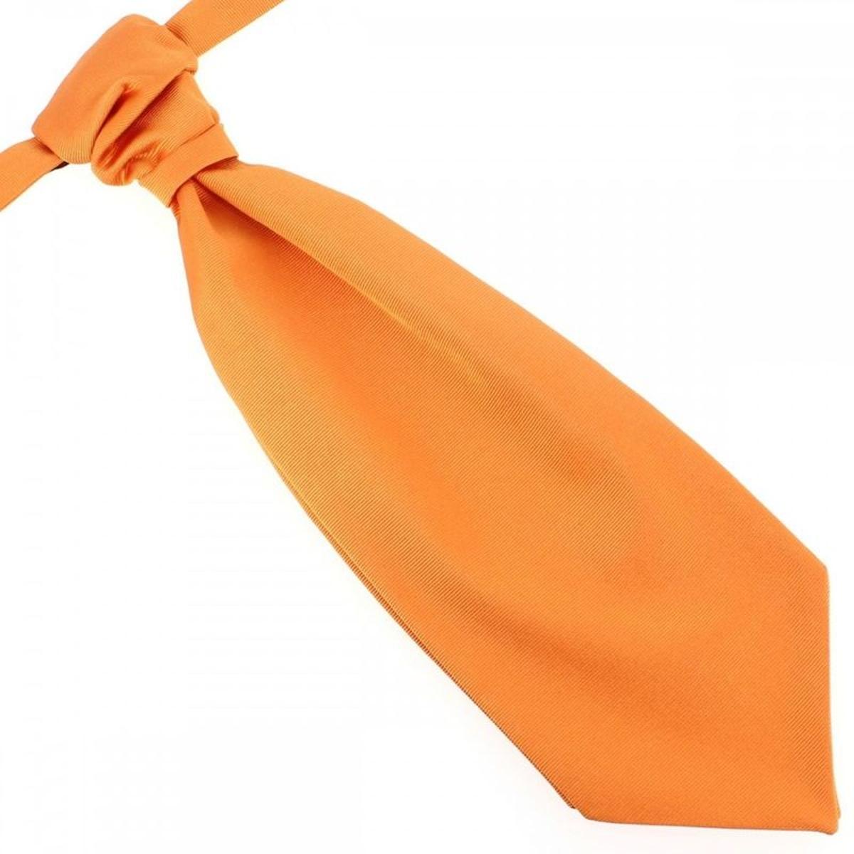 Lavallière nouée en soie, Orange Rame, Faite à la main