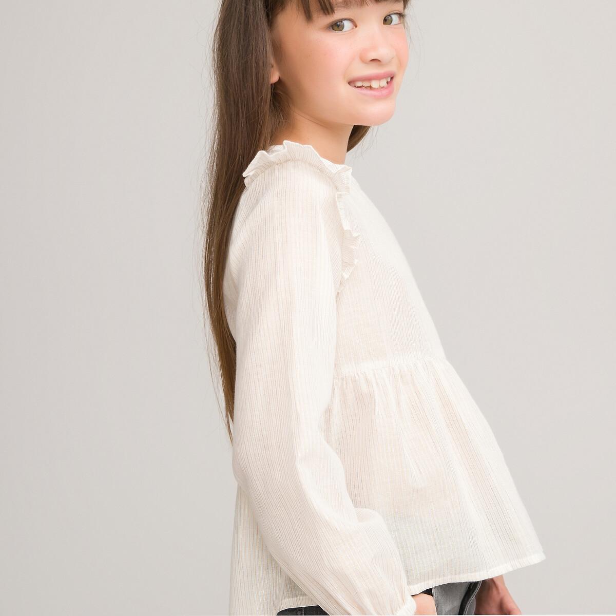 Блузка LaRedoute В полоску с длинными рукавами и воланами 3-12 лет 6 лет - 114 см бежевый