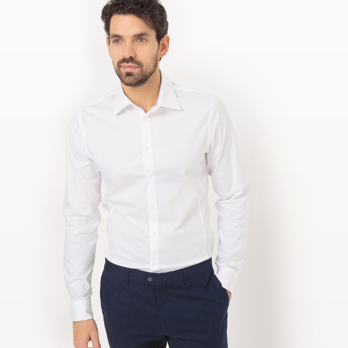 Рубашка с длинными рукавами, покрой супер узкийРубашка супер узкого покроя  . Длинные рукава с пуговицами внизу. Итальянский воротник со свободными кончиками . Застежка на пуговицы спереди. Состав и описание :Основной материал : 98% хлопка, 2% эластанаДлина : 79 см Уход :Машинная стирка при 30 °CСтирать с вещами схожих цветов с изнаночной стороныОтбеливание запрещеноГлажка на умеренной температуре Сухая (химическая) чистка запрещенаБарабанная сушка на умеренной температуре<br><br>Цвет: белый,черный<br>Размер: 35/36.47/48.45/46.43/44.41/42.37/38.35/36.47/48.43/44.41/42.39/40.37/38