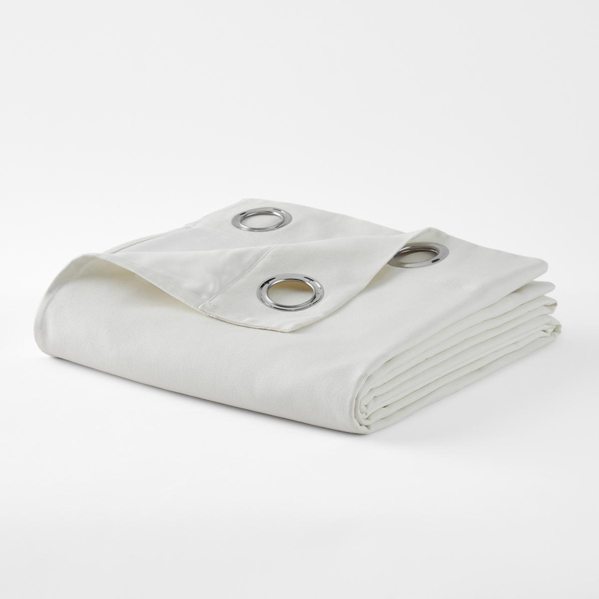 Штора затеняющая из смесовой ткани из льна и хлопка с люверсами TAÏMA