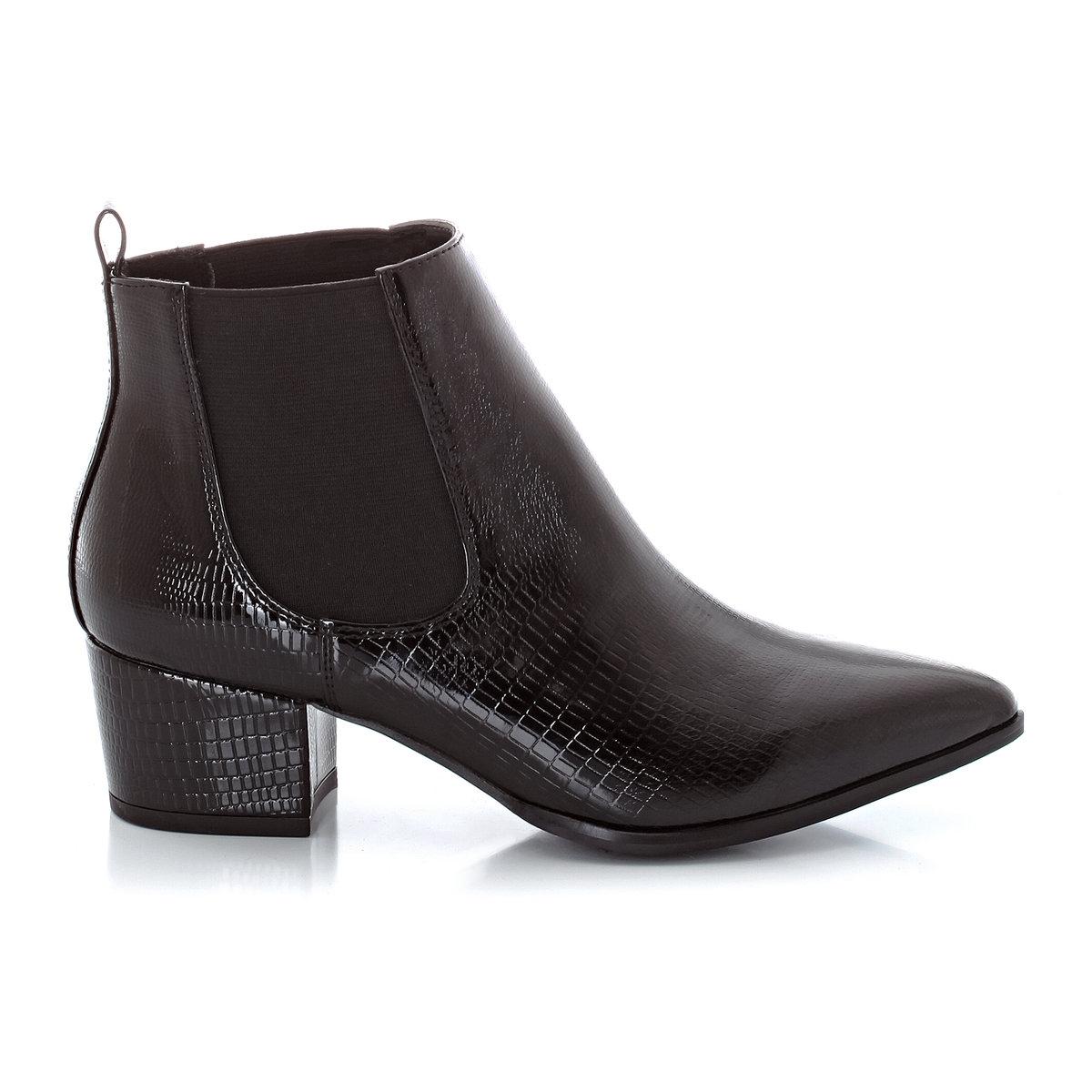 БотильоныВерх : синтетикаПодкладка : синтетикаСтелька : кожаПодошва : эластомерВысота каблука : 5 см Совет : Заказывайте на размер больше вашего обычного размера.<br><br>Цвет: черный<br>Размер: 38