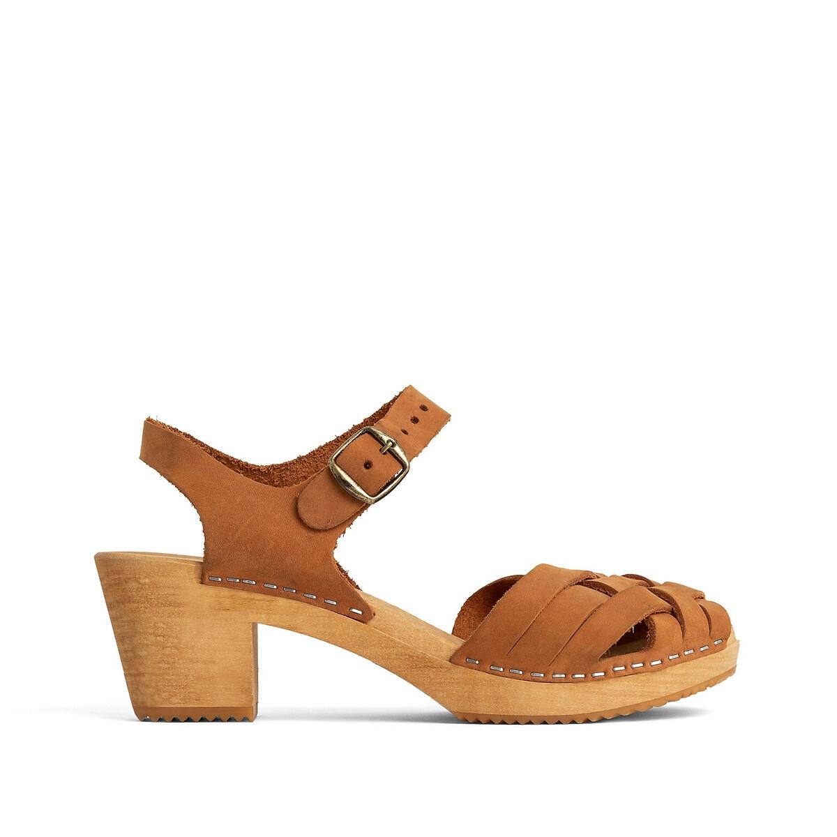 Sandales sabot en cuir à talon bois