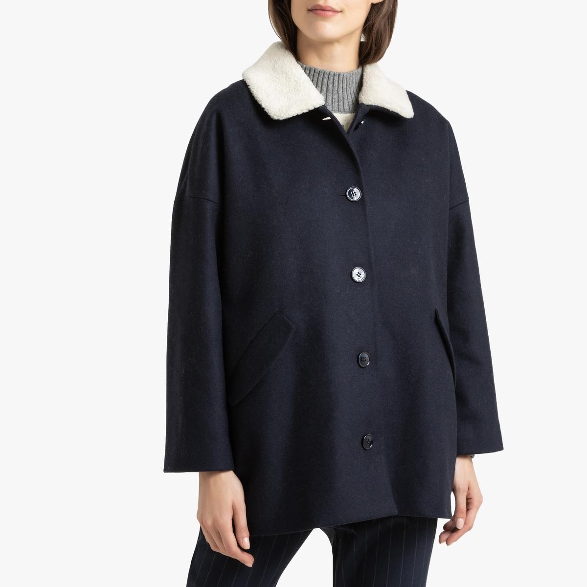 все цены на Пальто La Redoute Средней длины с застежкой на пуговицы и съемным воротником NYCOLANNE 2(M) синий онлайн