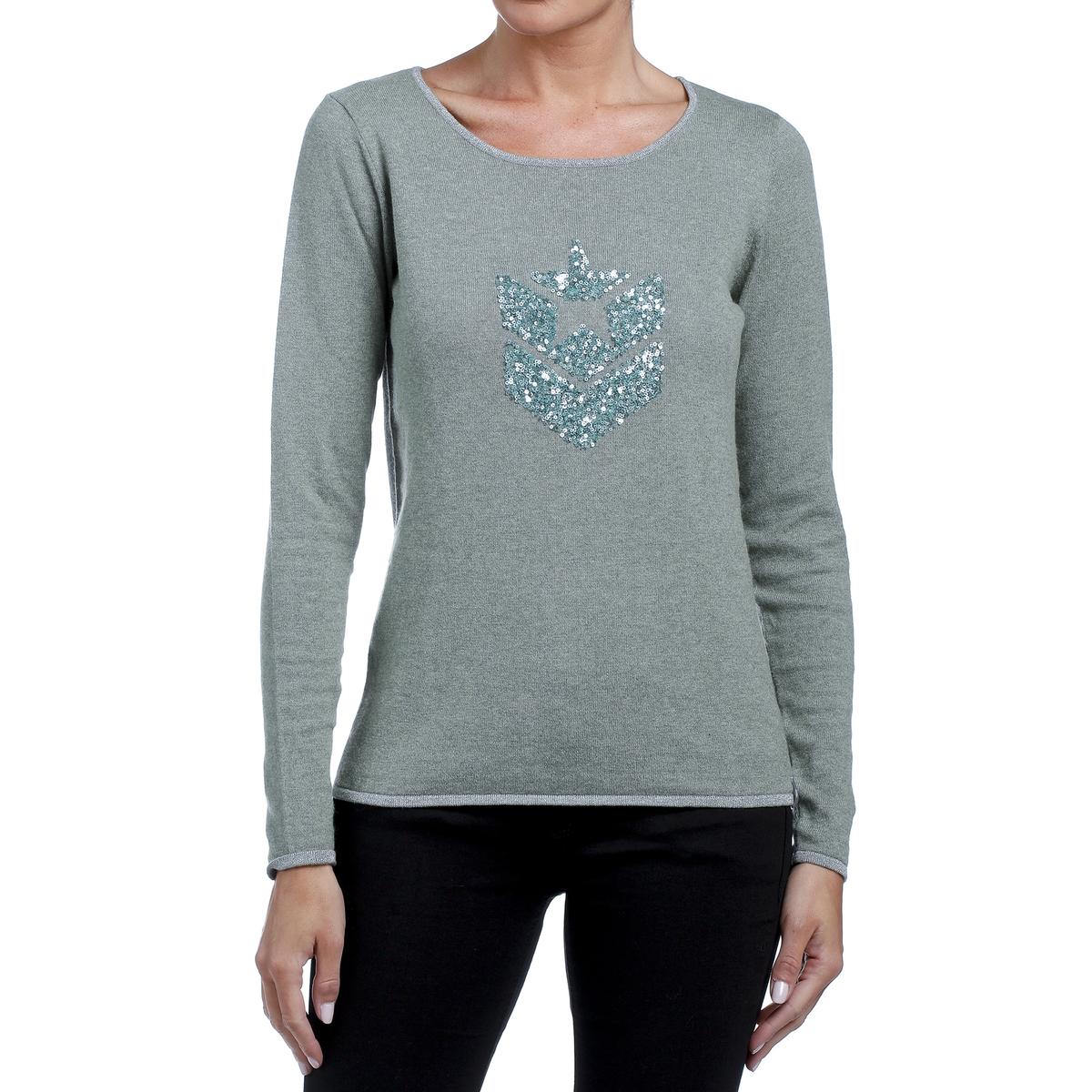 цена на Пуловер La Redoute Кашемировый с круглым вырезом и с логотипом из блесток спереди XS зеленый