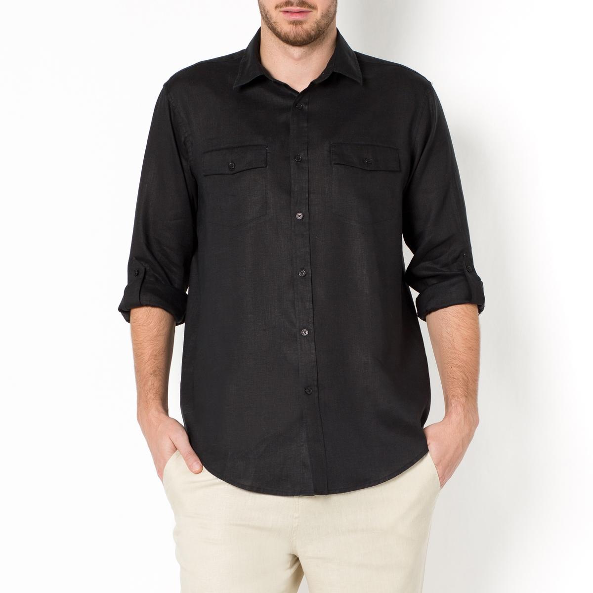 Camisa lisa, mangas compridas