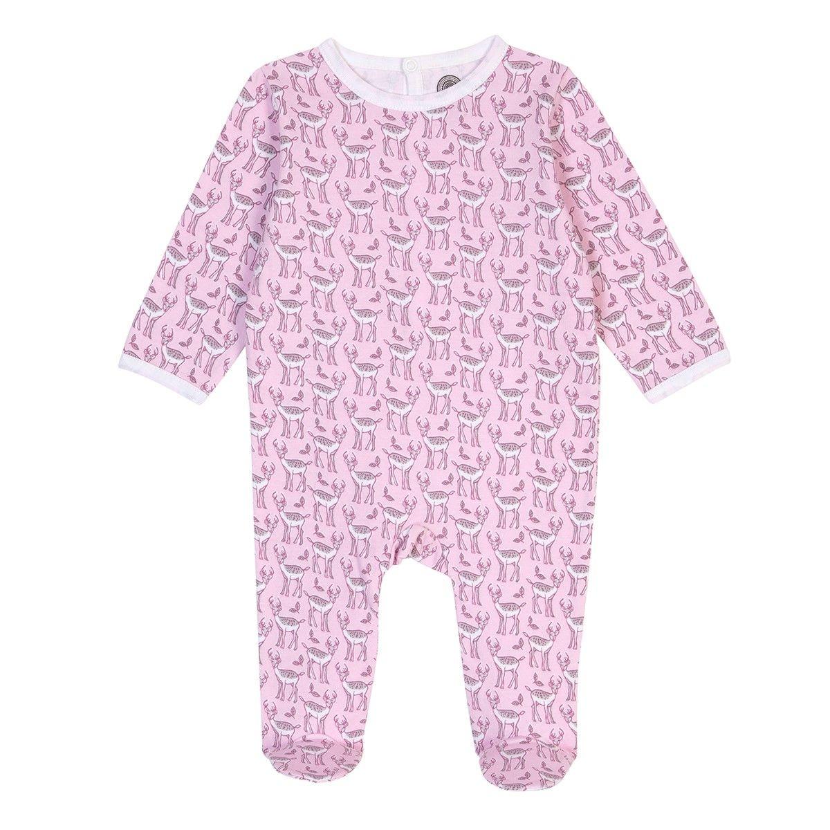 Pyjama bébé fille en coton bio - Imprimé Cerf rose