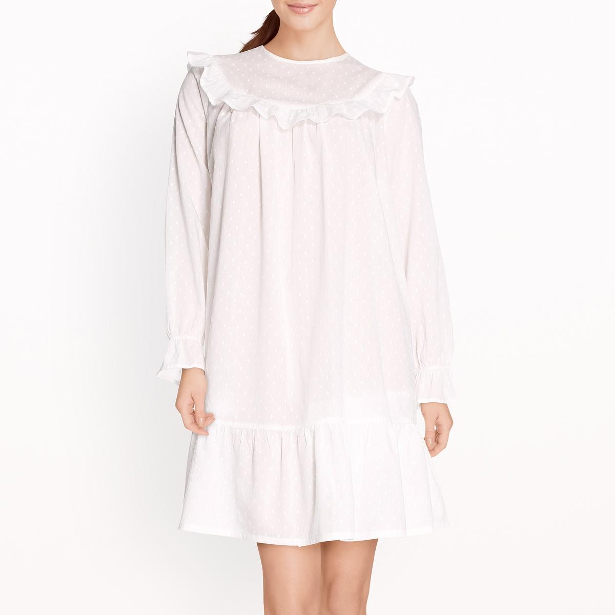 Рубашка ночная с вышивкой гладью и воланами