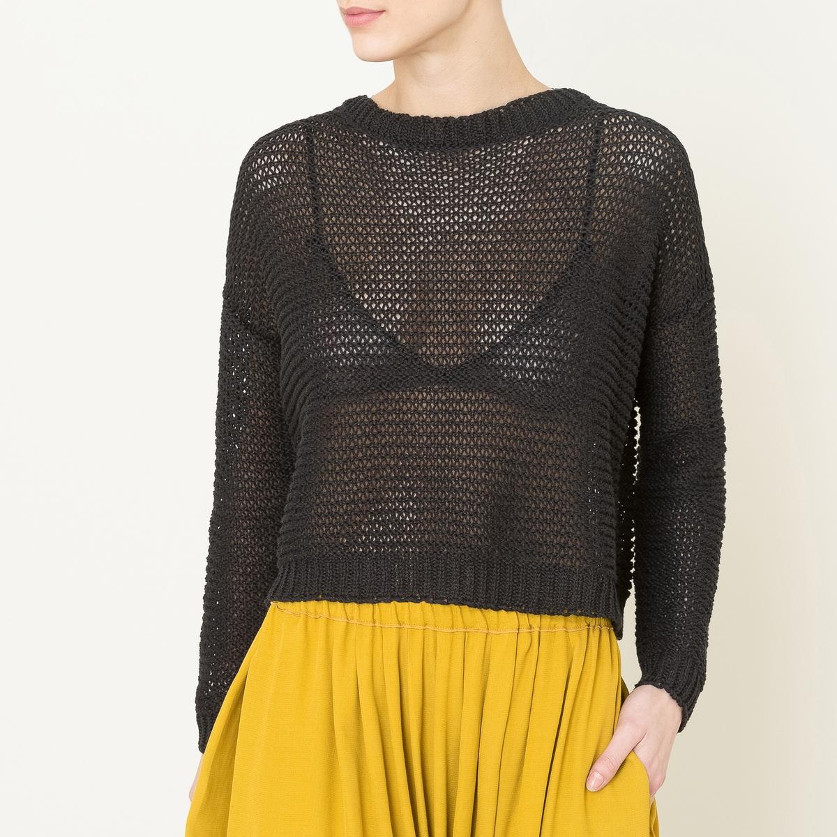 Пуловер с круглым вырезомСостав и описание   Материал : 58% льна, 42% хлопкаМарка : POMANDERE<br><br>Цвет: черный