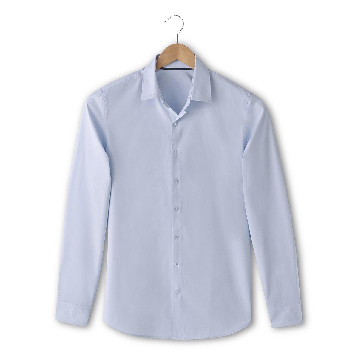 Рубашка однотонная с длинными рукавами, узкий покройРубашка с длинными рукавами R Essentiel. Узкий покрой (облегающий). 100% хлопка. Свободные уголки воротника с контрастной внутренней частью. Длина ок. 77 см.<br><br>Цвет: небесно-голубой<br>Размер: 45/46