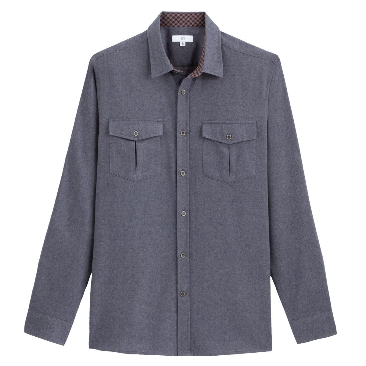 Camisa recta de franela, de manga larga