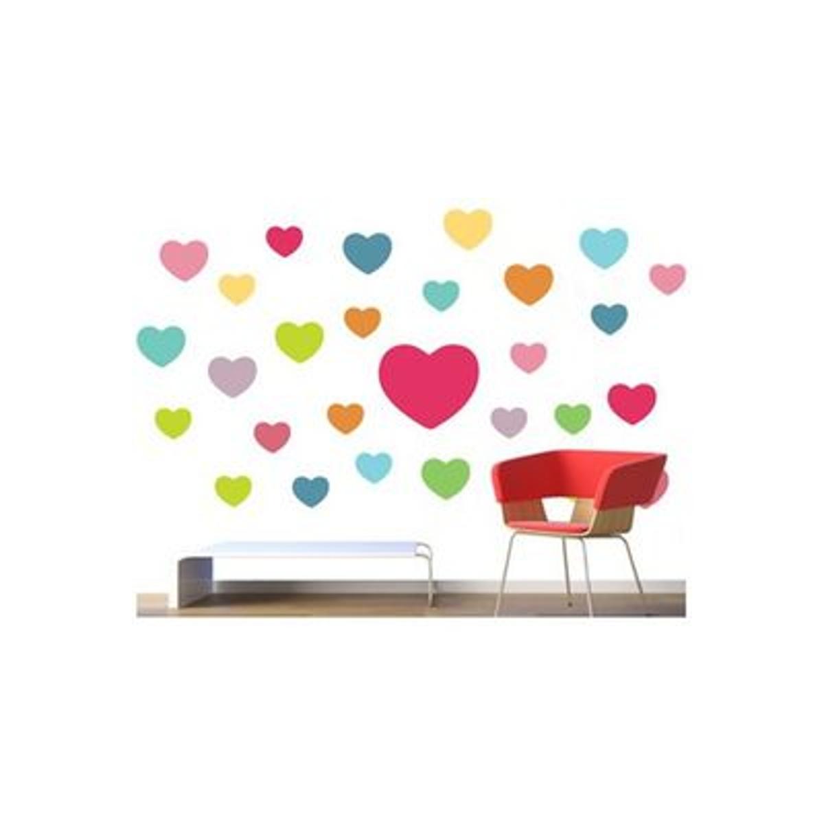 Stickers muraux : Coeurs couleurs
