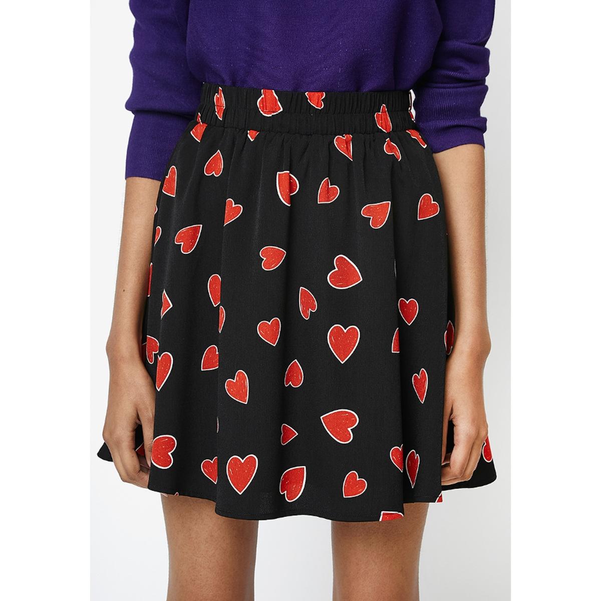 Юбка La Redoute Укороченная с завышенной талией с рисунком сердечки M черный юбка la redoute короткая с завышенной талией и цветочным рисунком xs зеленый