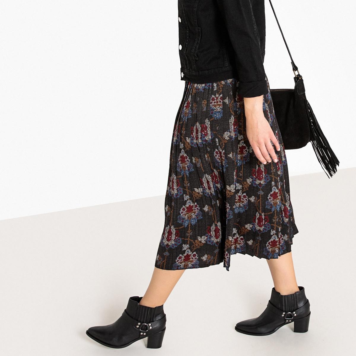 Falda con cremallera y estampado de flores