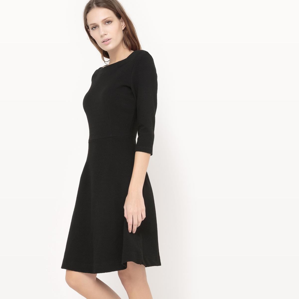 Платье с рукавами 3/4Состав и описание :Материал : 72% полиэстера, 24% вискозы, 4% эластана Марка : TOM TAILOR.<br><br>Цвет: черный<br>Размер: 42 (FR) - 48 (RUS)