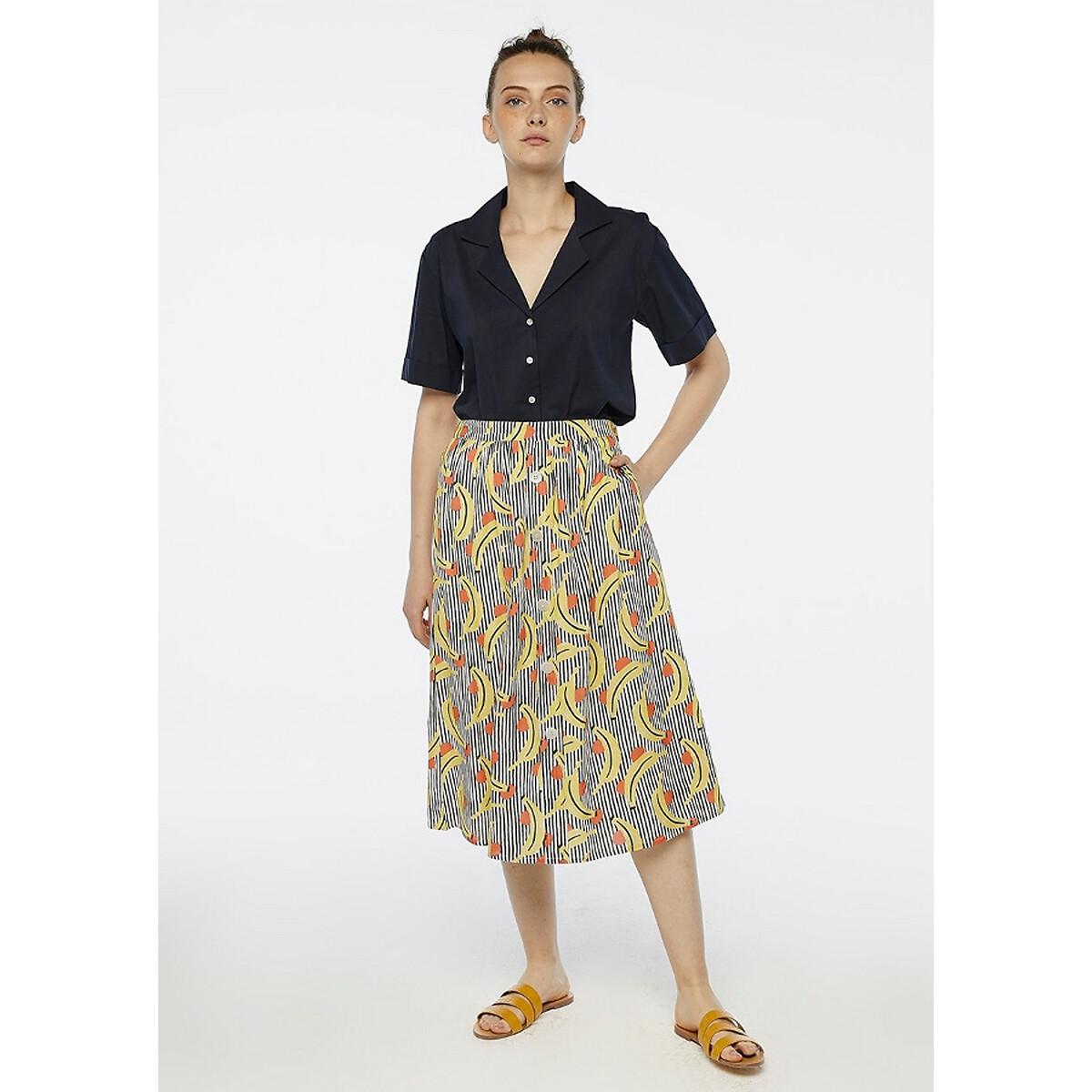 Юбка-миди La Redoute С завышенной талией с карманами и принтом M черный брюки la redoute широкие с завышенной талией и стилизованным рисунком m красный