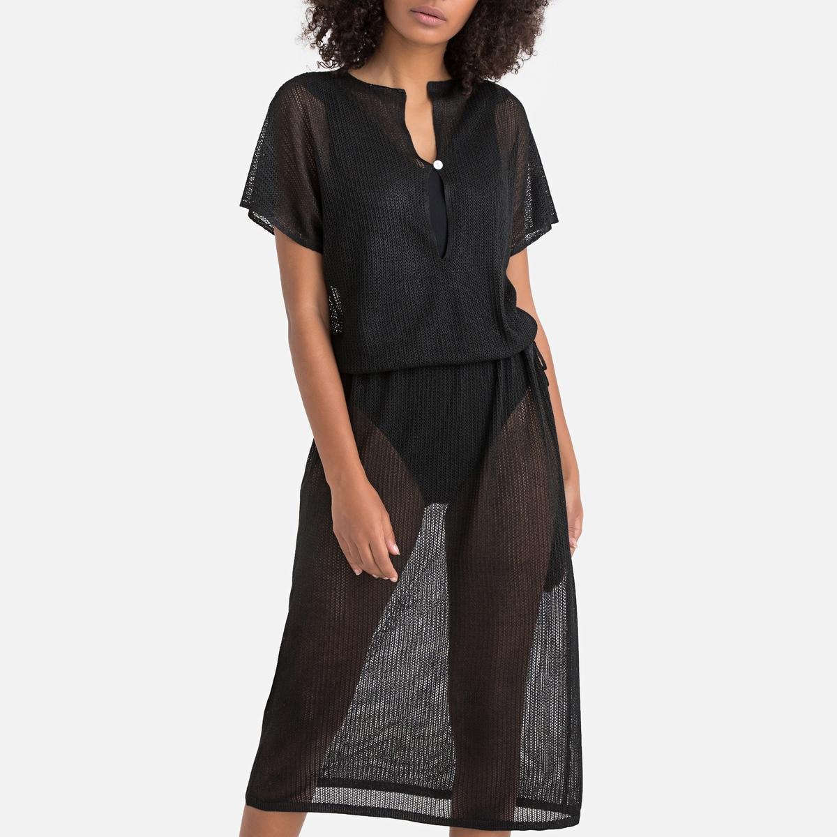 Платье La Redoute Пляжное с короткими рукавами S черный