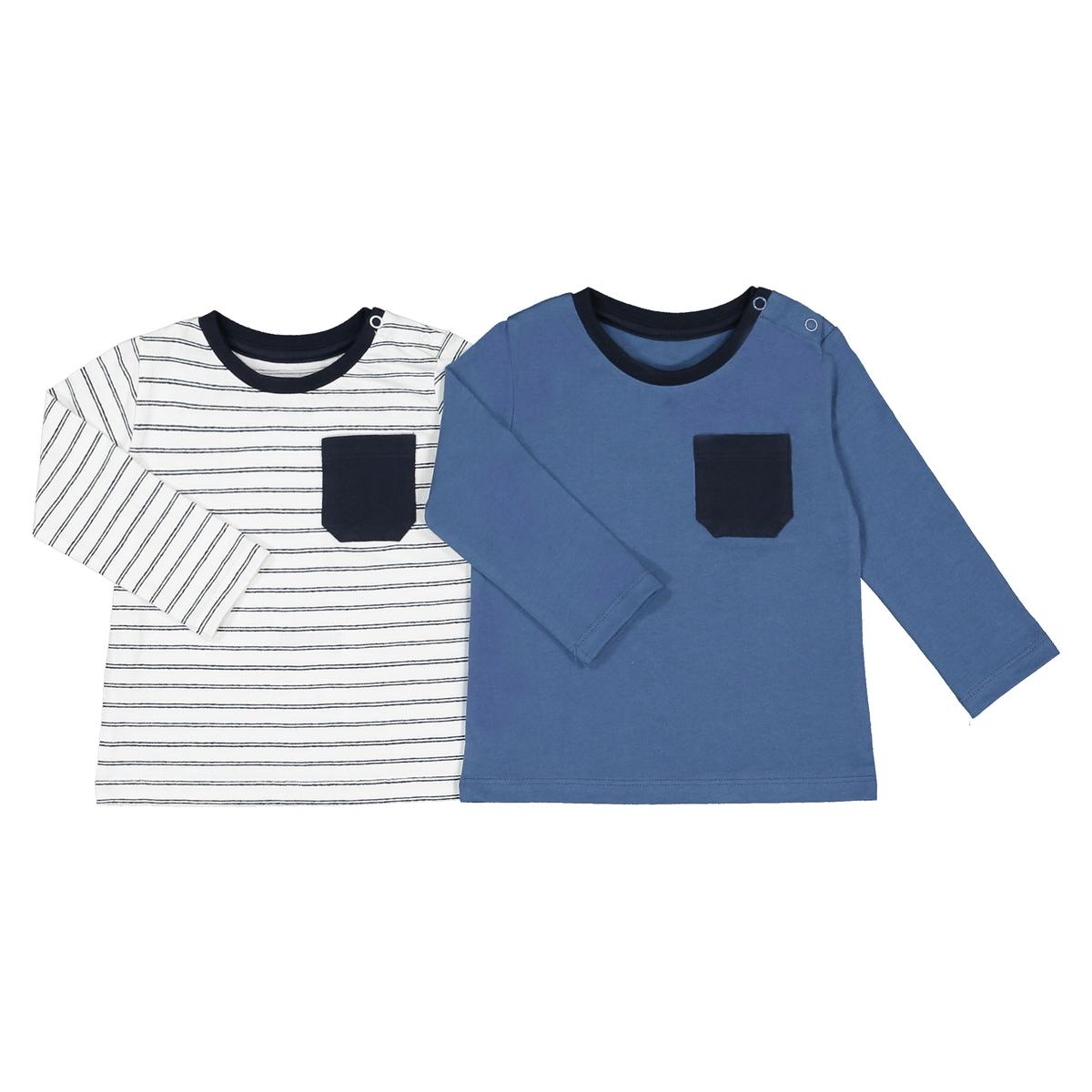 Lote de 2 t-shirts de mangas compridas, 1 mês-4 anos