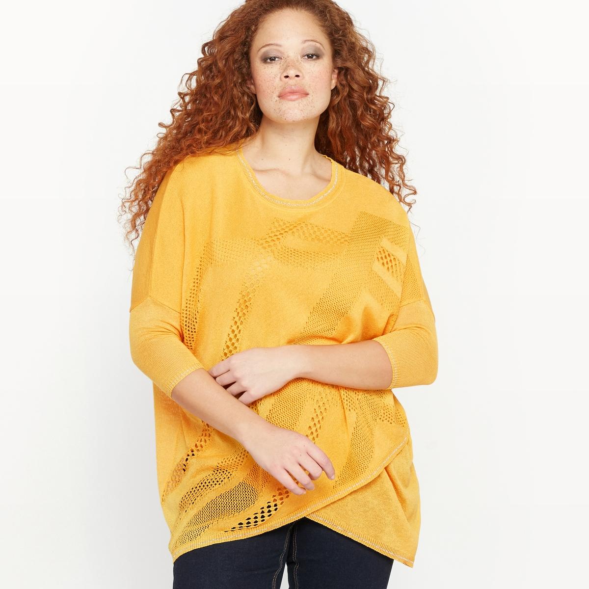 Пуловер асимметричныйАсимметричный пуловер.Круглый вырез.Рукава 3/4.Ажурный трикотаж с наложением гладкого трикотажа спереди.Гладкий трикотаж сзади .Края выреза, рукавов и низа связаны в рубчик с полосой из блестящих волокон.Состав и описание :Материал :  трикотаж, 82% акрила, 17% полиамида, 1% полиэстера.Длина : 77 см.Марка : CASTALUNAУход : Машинная стирка при 40 °С.<br><br>Цвет: желтый кукурузный<br>Размер: 42/44 (FR) - 48/50 (RUS).50/52 (FR) - 56/58 (RUS)
