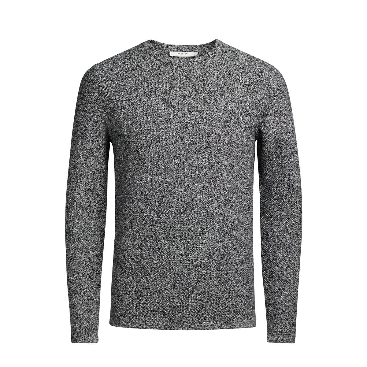 Пуловер с круглым вырезом из текстурного трикотажа 100% хлопок