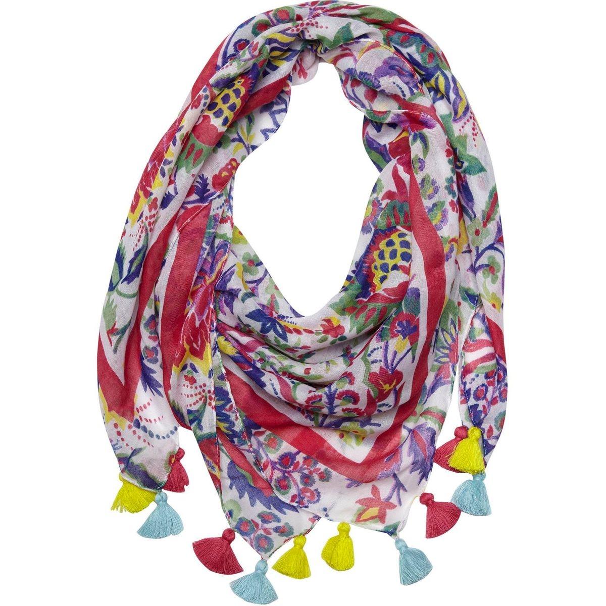Foulard coloré à pompons