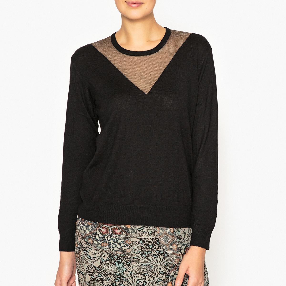 Пуловер из двух материалов