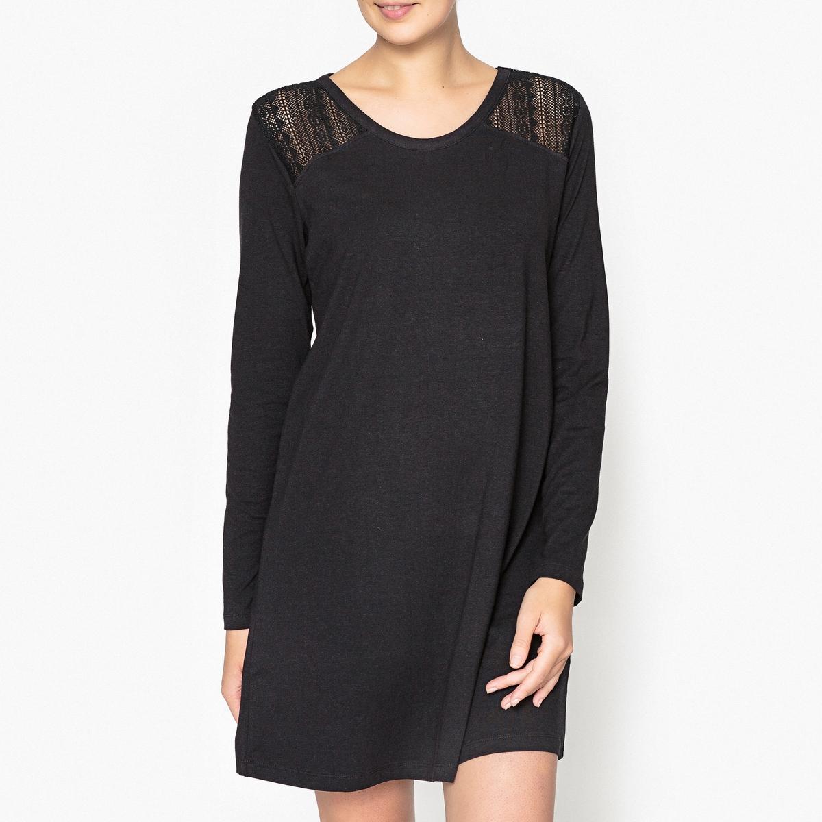 Рубашка ночная из кружеваНочная рубашка со спинкой и плечами из кружева .Состав и описаниеНочная рубашка прямого покроя с длинными рукавами, закругленный V-образный вырез, плечи и спинка из кружева Материал :  50% модала, 46% хлопка,4% эластана Длина: 88 смУход: :Стирать с вещами подобного цвета при 30°.Стирать, сушить и гладить с изнаночной стороны.<br><br>Цвет: черный<br>Размер: 42 (FR) - 48 (RUS).48 (FR) - 54 (RUS).44 (FR) - 50 (RUS)