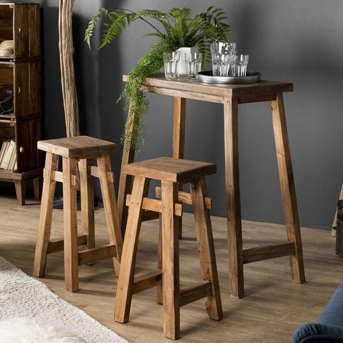 Table haute mange-debout avec 2 tabourets de bar bois acajou style exotique 40x90cm JODHPUR