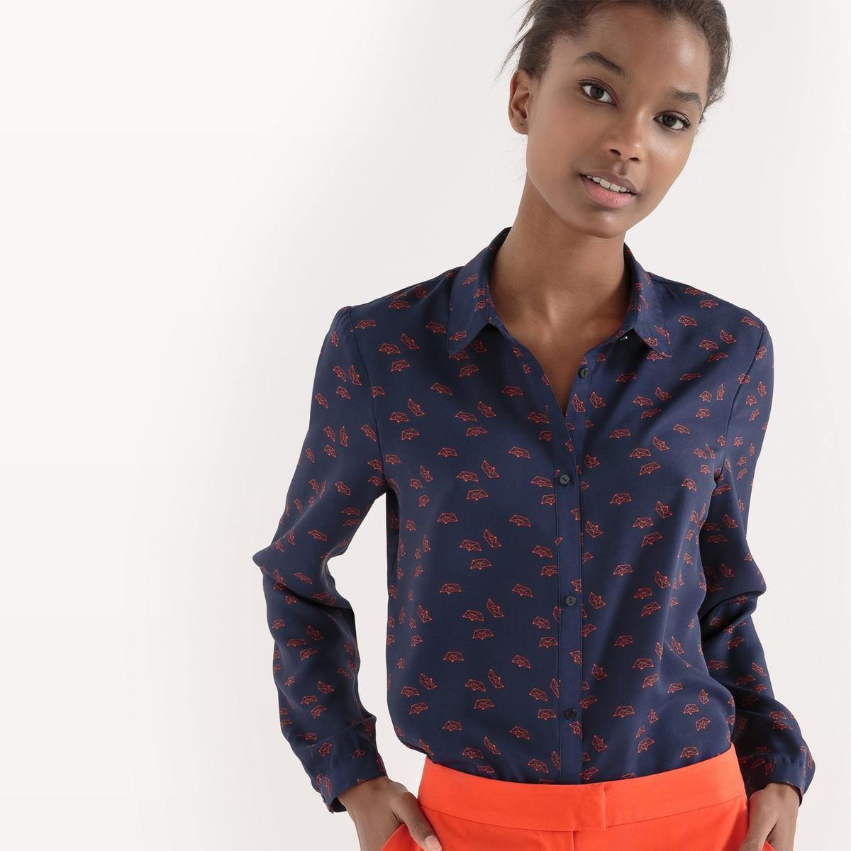 Рубашка прямого покроя из полиэстера