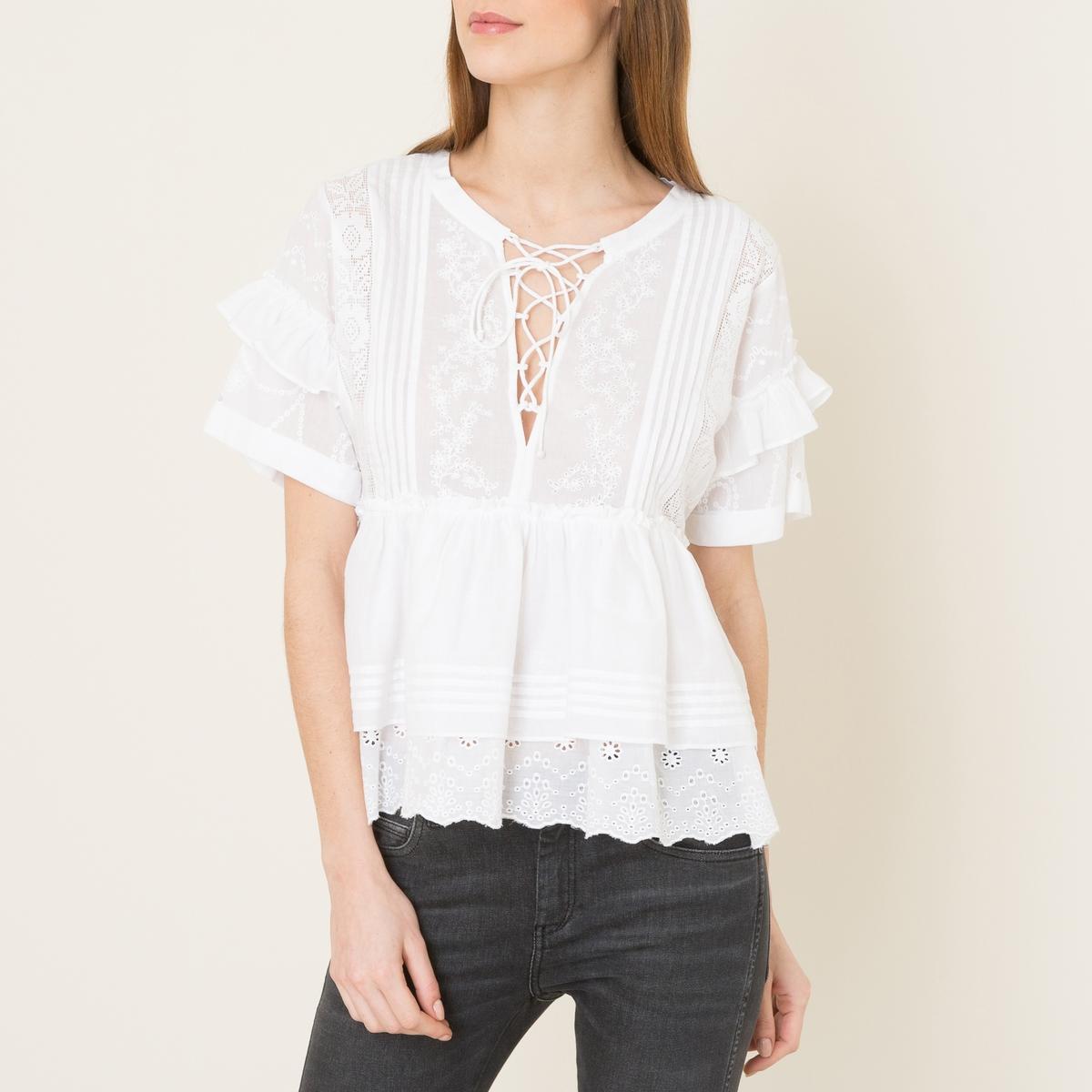 Блузка с воланамиСостав и описание Материал : 100% хлопокМарка : THE KOOPLES<br><br>Цвет: белый