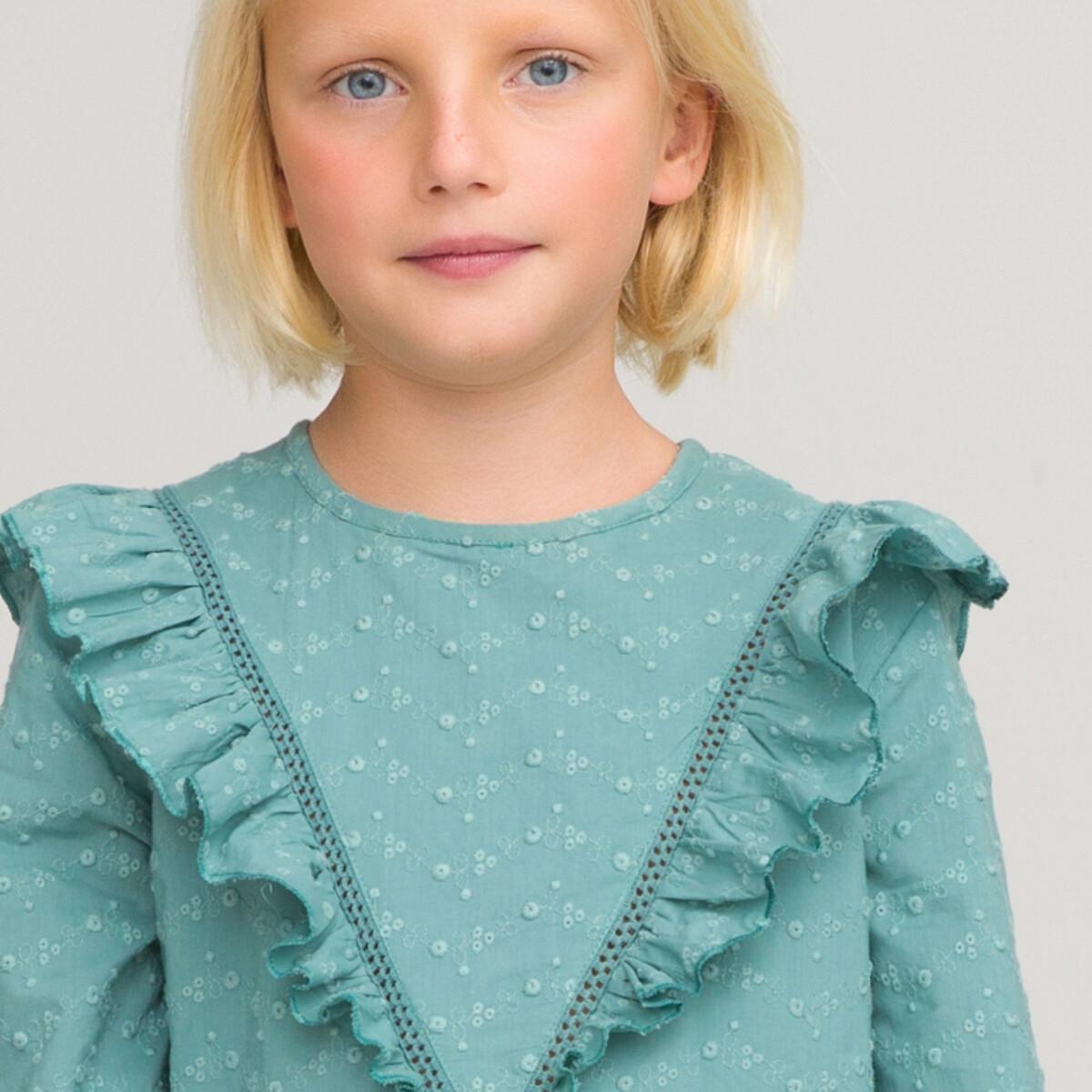 Платье LaRedoute С длинными рукавами и вышивкой с воланами 3-12 лет 7 лет - 120 см синий