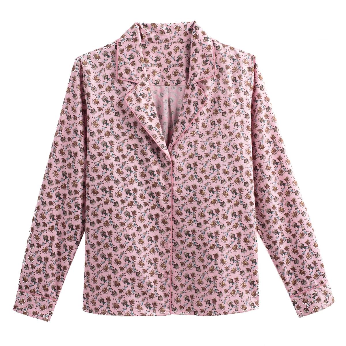 Camisa estilo pijama, estampado floral