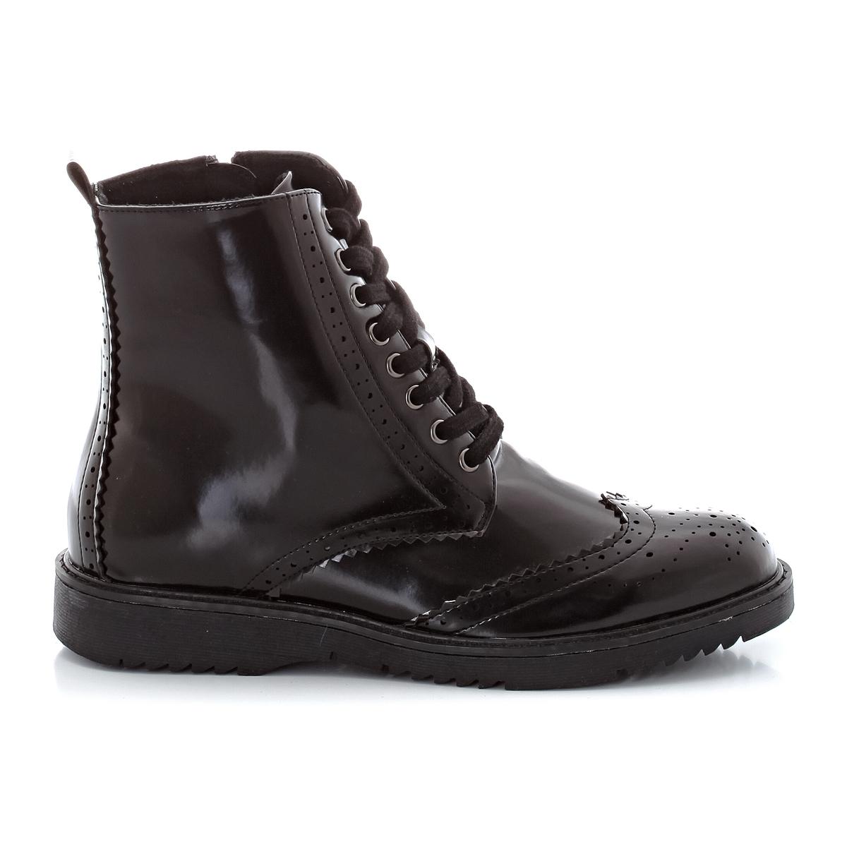 Ботинки на шнуровкеВерх : синтетика             Подкладка : полиэстер.     Стелька : синтетика     Подошва : эластомер     Форма каблука : плоский каблук.     Мысок : закругленный     Застежка : Шнуровка<br><br>Цвет: черный<br>Размер: 40.39.38.37.36.42