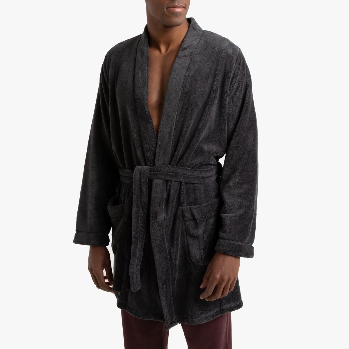 цена Халат La Redoute Домашний из флиса XXL серый онлайн в 2017 году